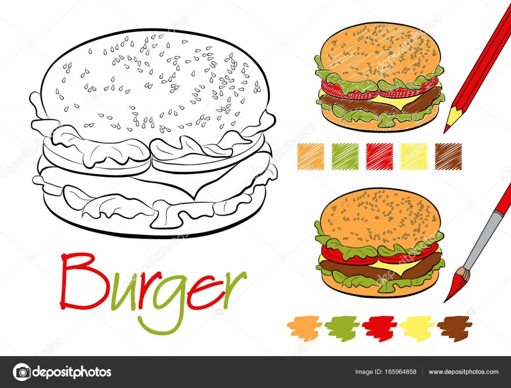 Hamburger coloring page for the book with examples of coloring ...