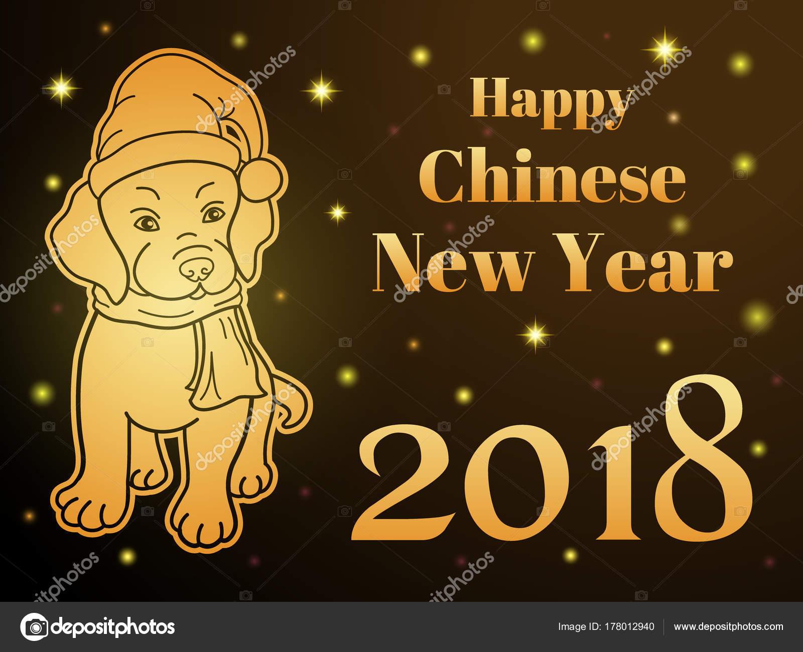 Happy Chinese New Year-Grußkarte oder horizontale Banner. Süßer Hund ...