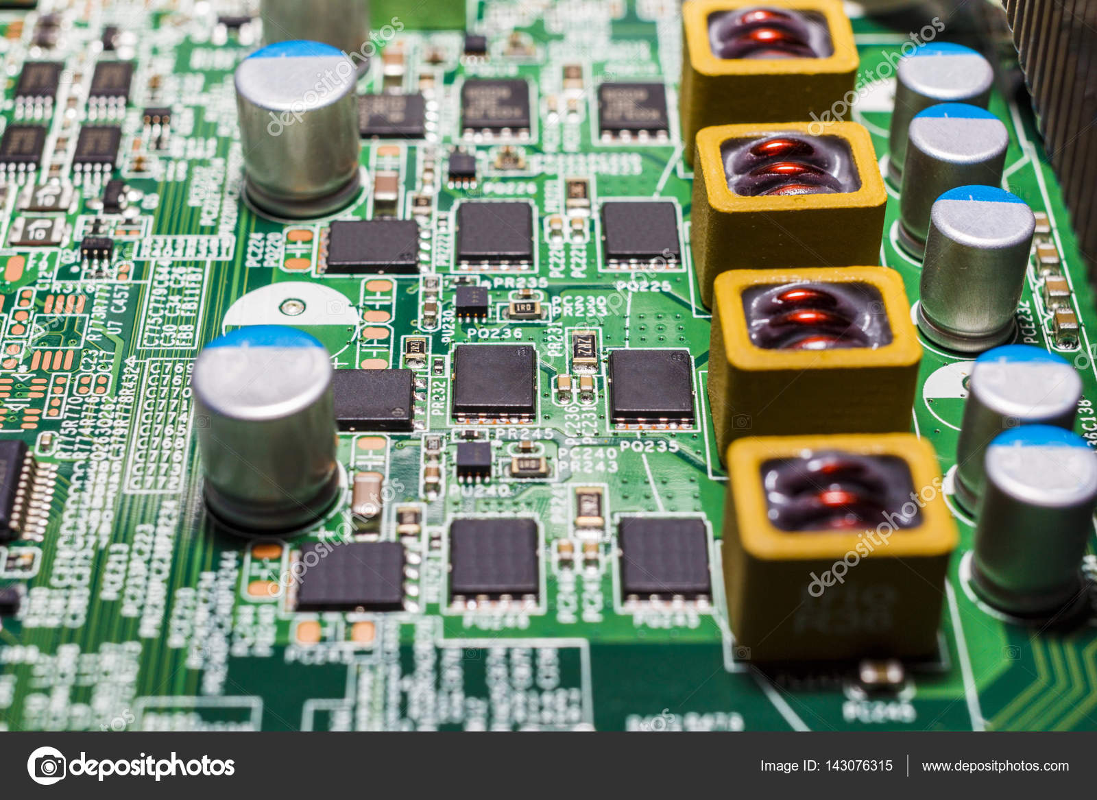 Resistors on Electronic Circuit Board — Stock Photo