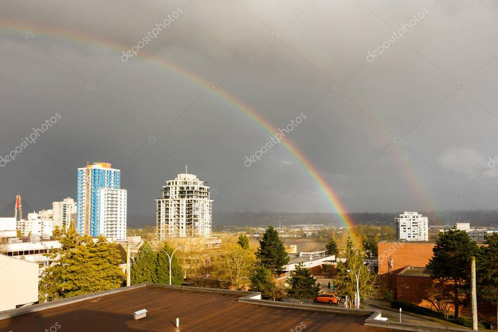 New Westminster, Canada - Circa 2017: A Large Rainbow over the c