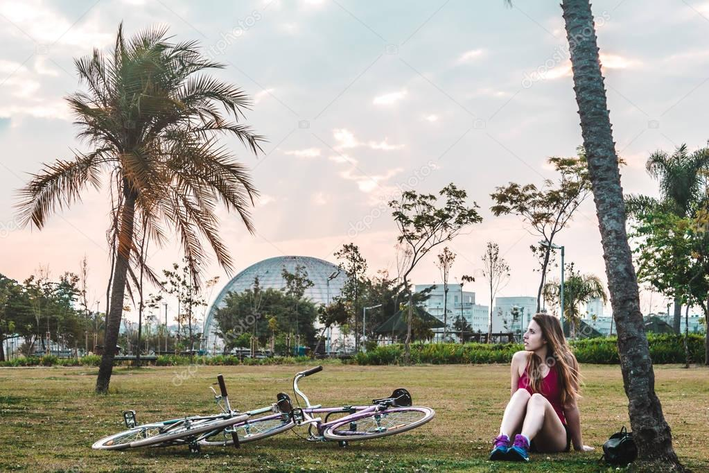 Girl with her Bike at Villa-Lobos Park in San Paulo (Sao Paulo),