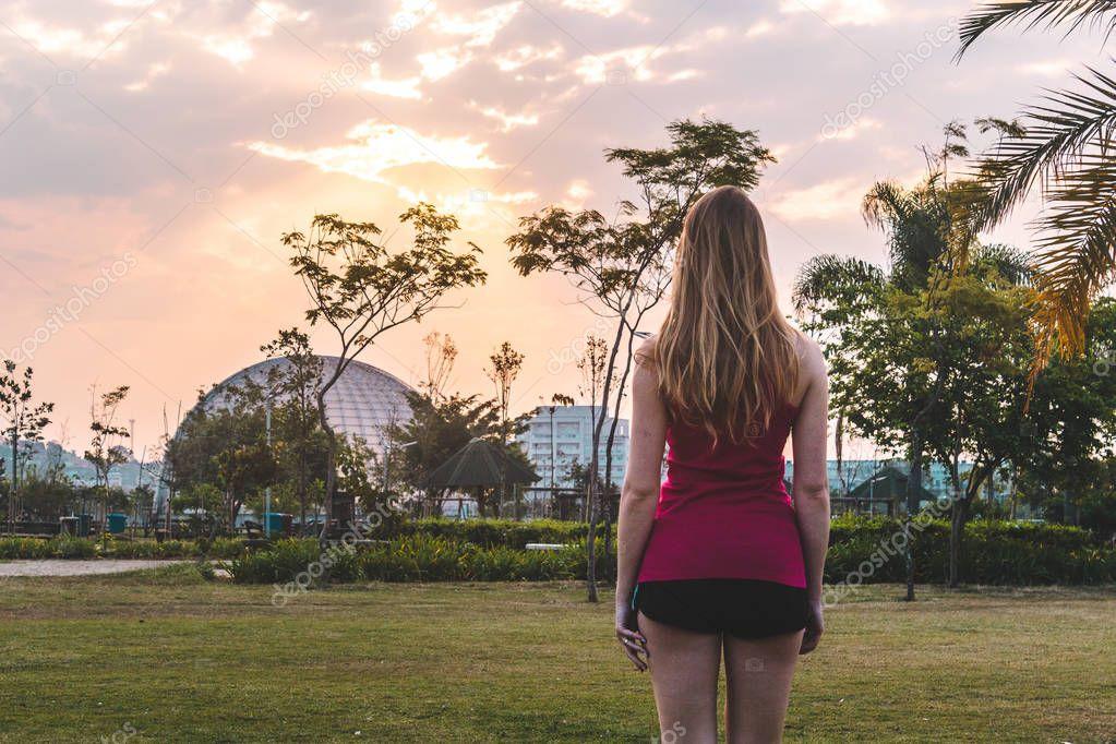 Girl at Villa-Lobos Park in San Paulo (Sao Paulo), Brazil (Brasi