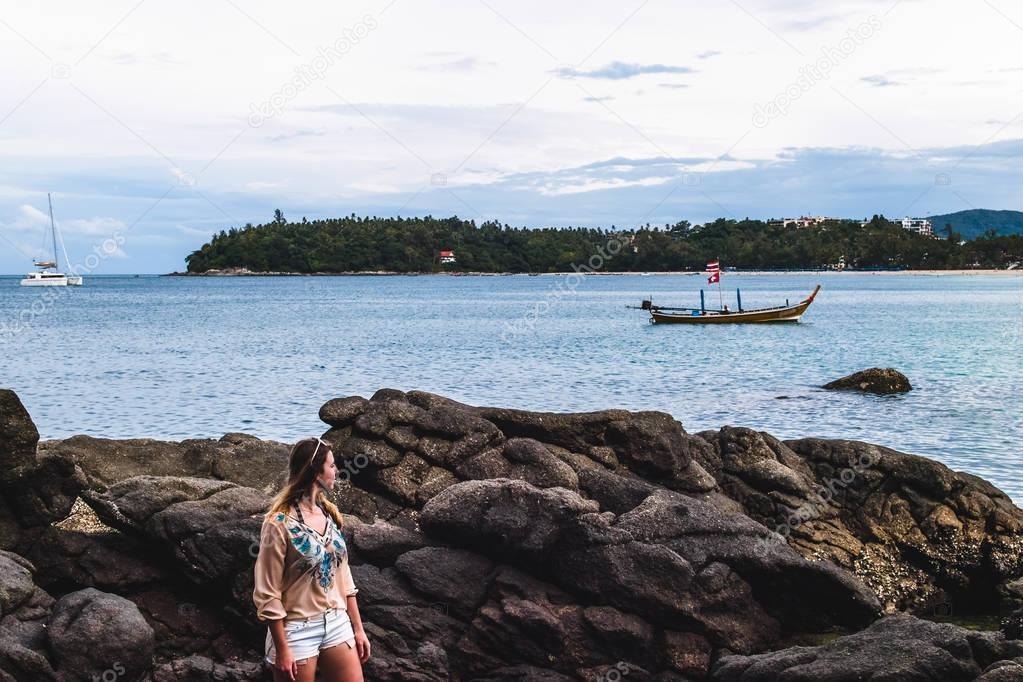 Girl at Kata Beach in Phuket Island, Thailand