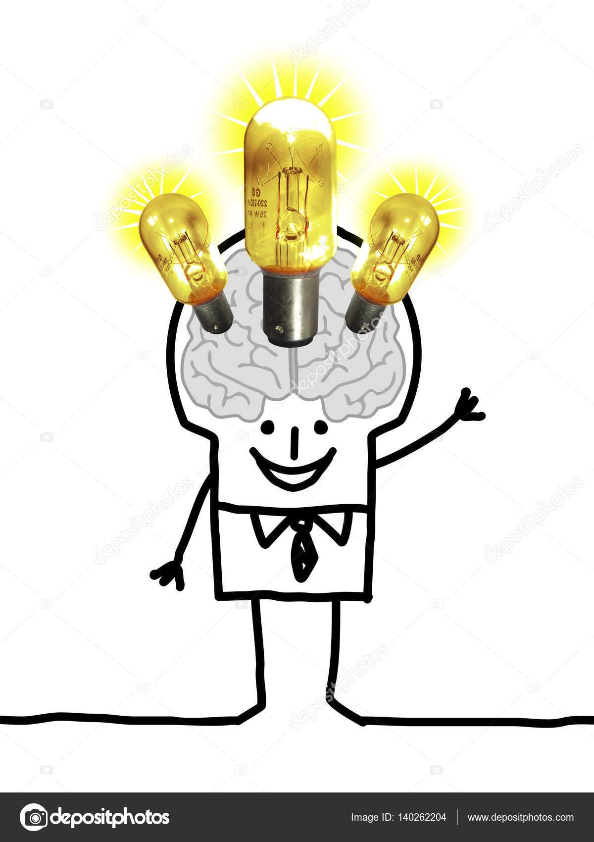cartoon grote hersenen man verlichting en ideen foto van nlshop