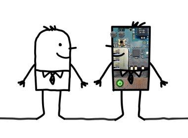 Cartoon robots - Businessman and his clone