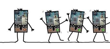 Cartoon robots - Men standing and walking
