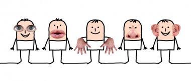 Cartoon characters and five senses