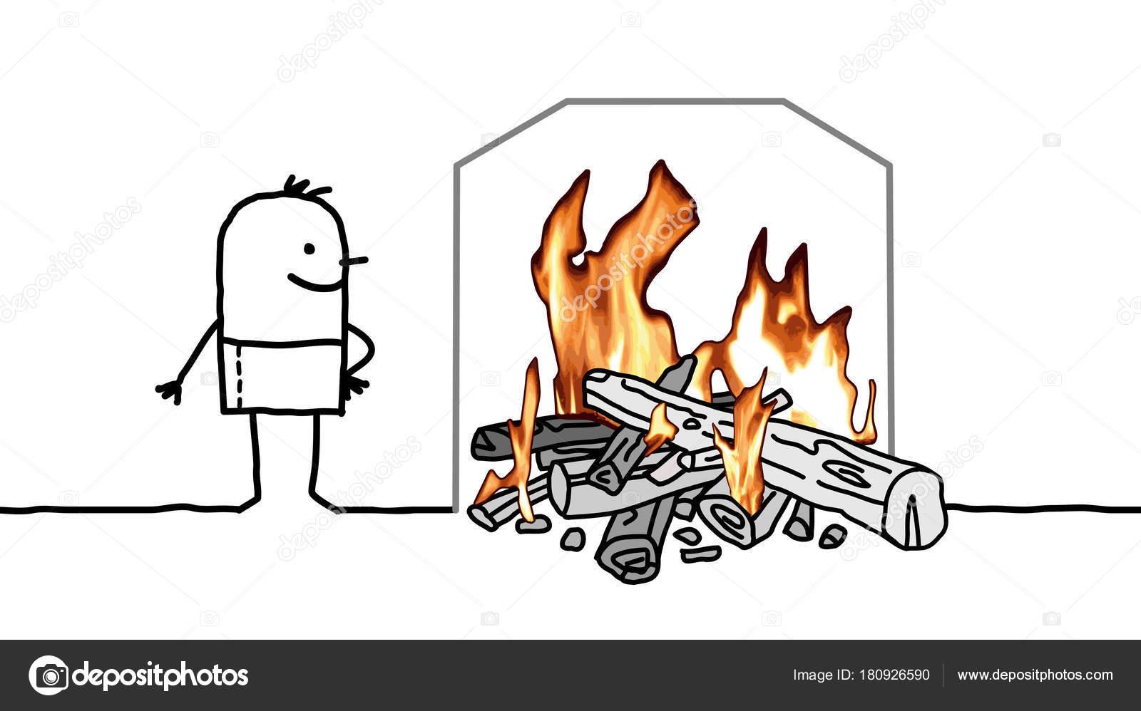 Homme de dessin animé avec un feu qui brûle à la maison illustration de stock