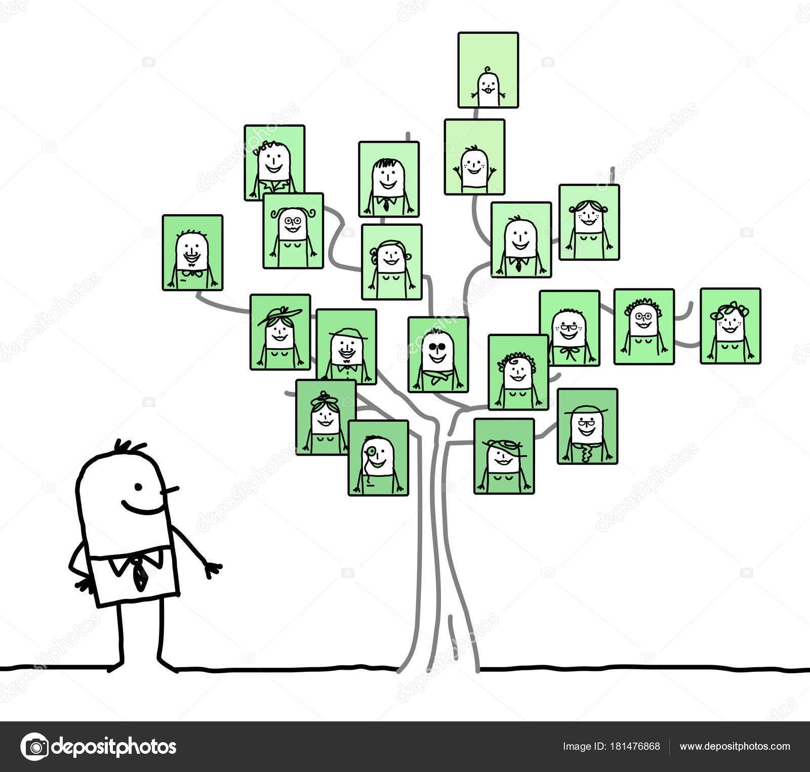 Dessin Anime Homme Je Regarde Un Arbre Genealogique Image