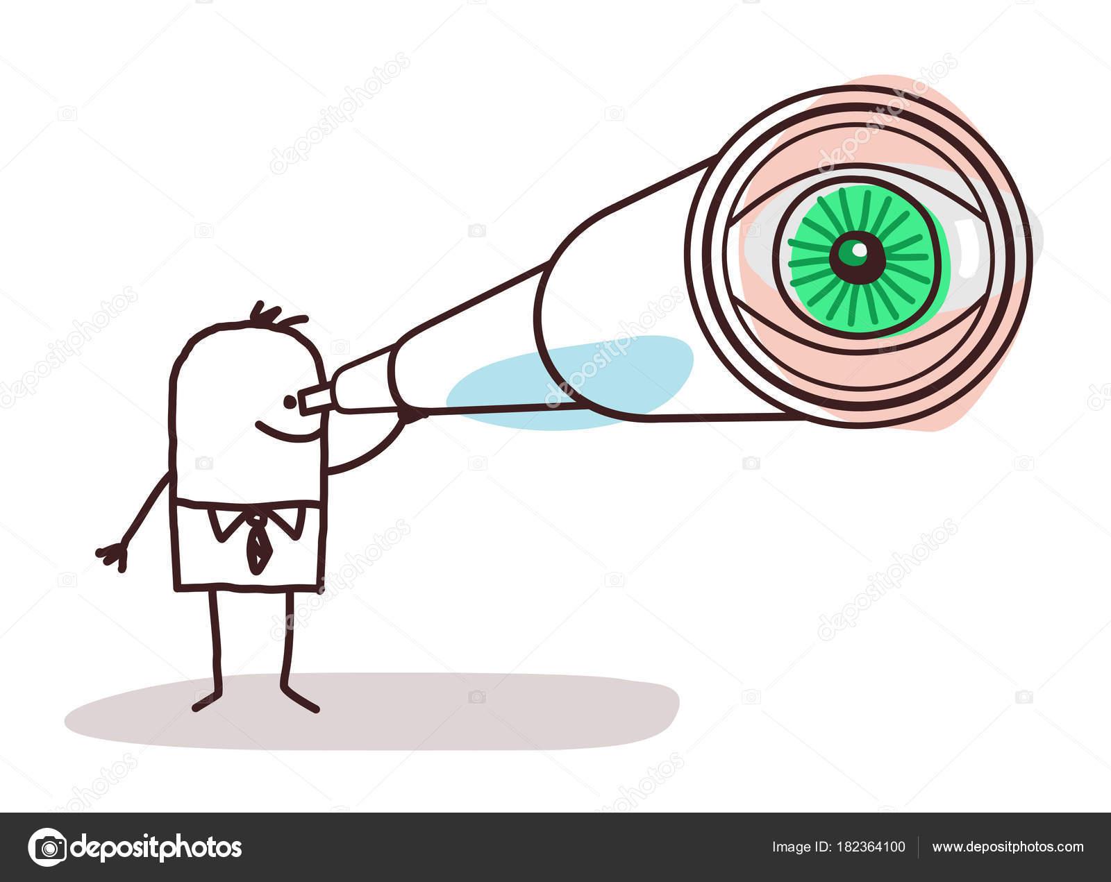 Empresario de dibujos animados con ojos de telescopio grande ...