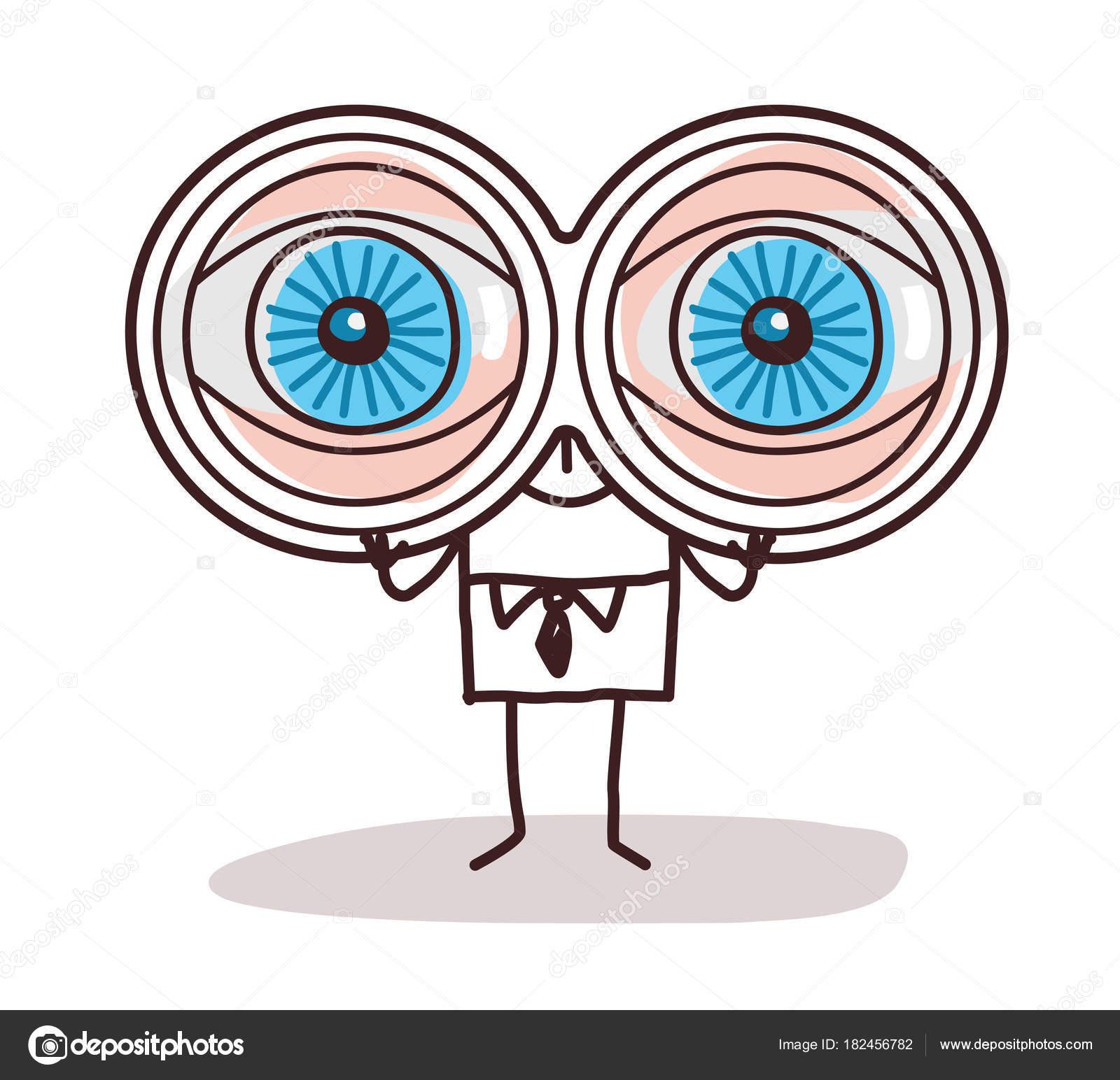 Cartoon Binoculars Cartoon Businessman With Big Binoculars Eyes Stock Vector C Nlshop 182456782