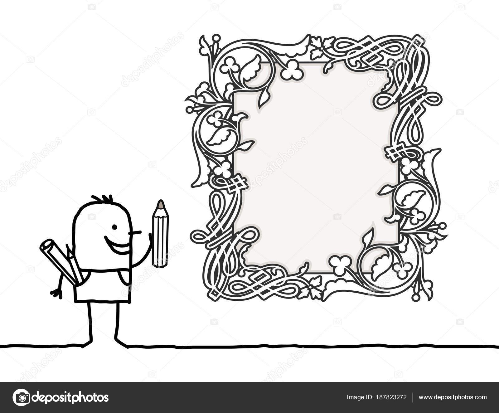 Diseñador de dibujos animados dibujar un marco en blanco estilo ...
