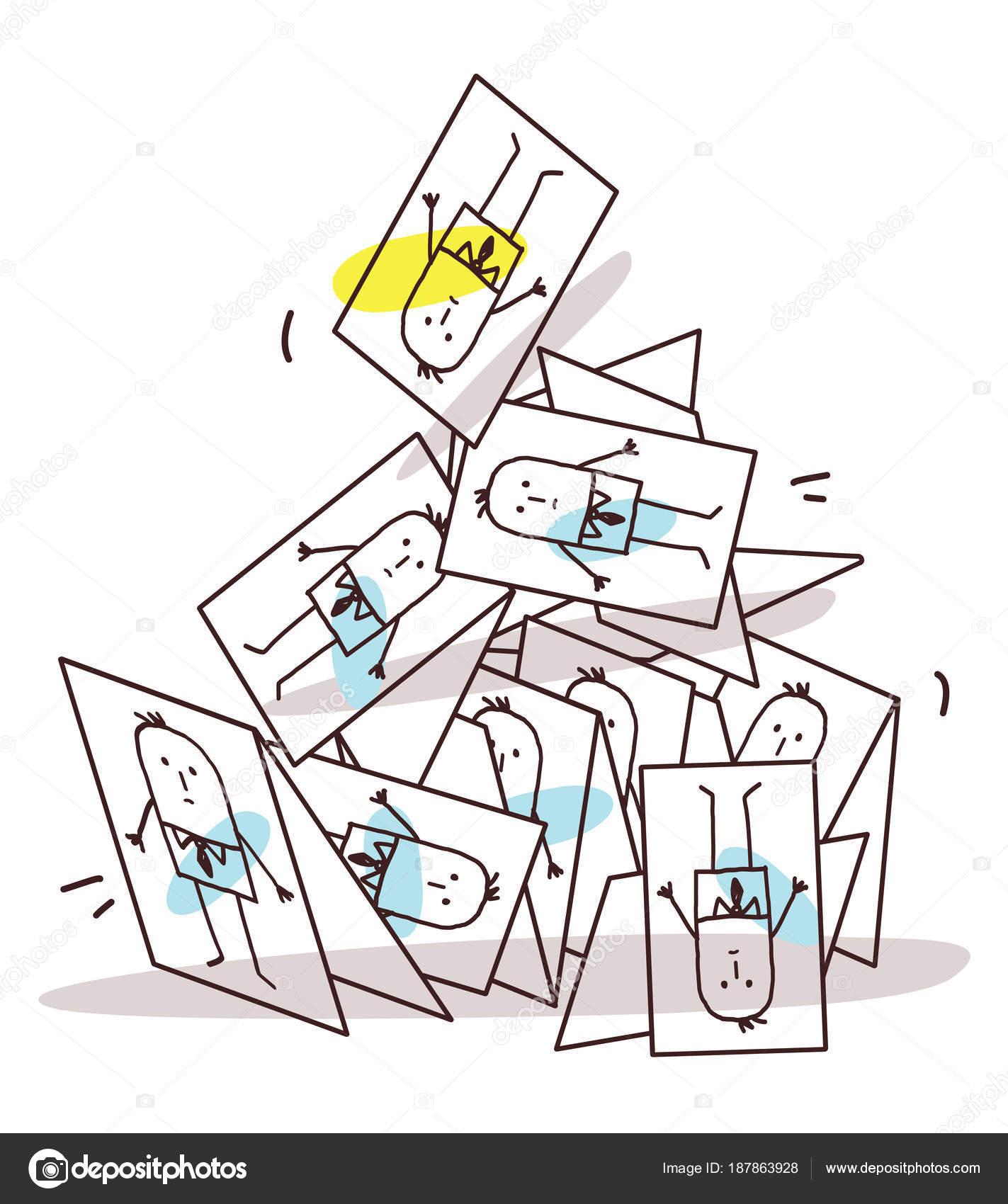 Dessin Anime Seffondrant Pyramide De Cartes Visite Illustration Stock