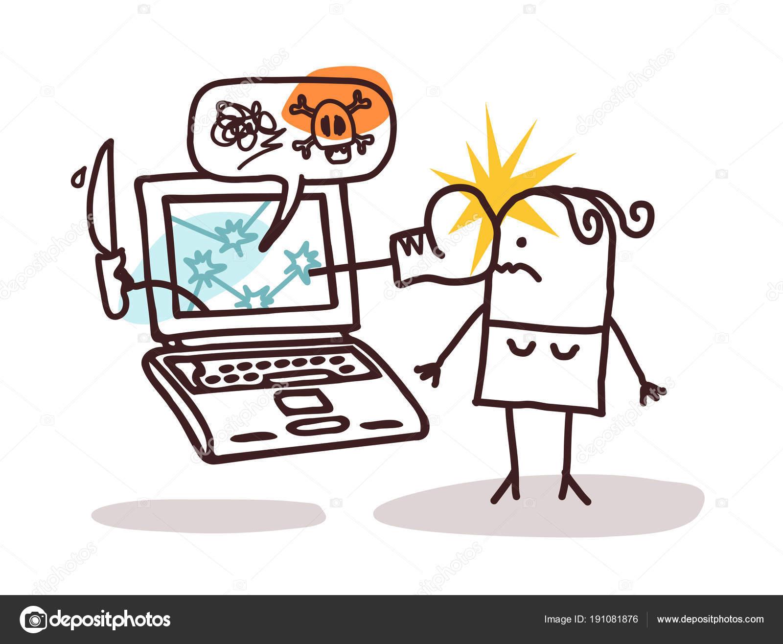 Ilustracion Cyberbullying Mujer Con Ordenador Portátil