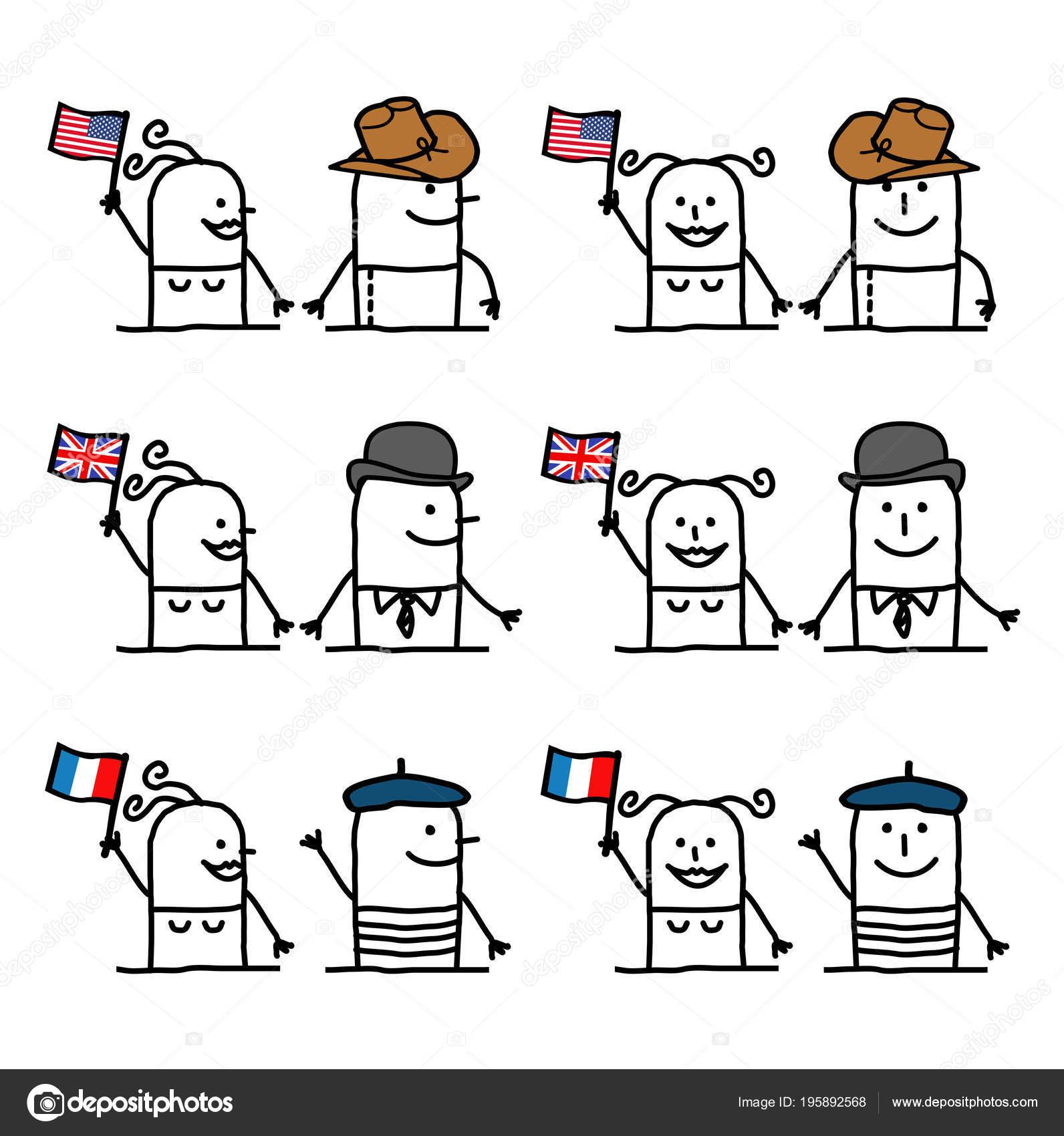 personagens desenhos animados conjunto países tradição vetores de