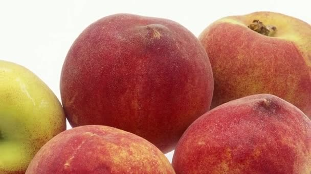 Peachs, persica vulgaris, gyümölcsök, fehér háttér, valós idejű 4k, mozgó kép