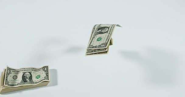 1 US Dollar Banknotes flying