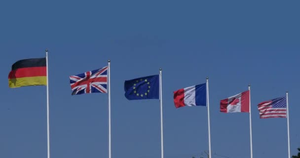 European Flags Waving in the Wind, Real Time 4K