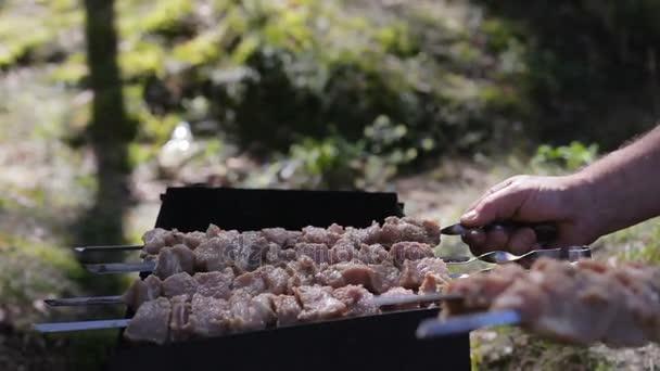 Grilované maso na špejle. Pouliční jídlo. Maso, rotace špíz