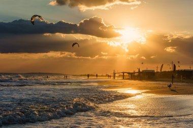 Beautiful sunset on a sandy beach shoreline seascape scenery