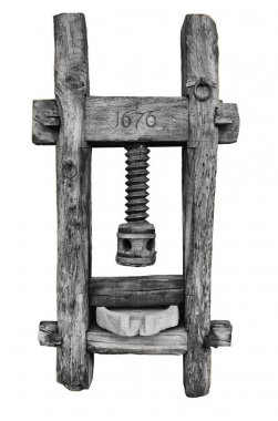 Old wood mortar for cereal, 1676 dated, isolated on white background.