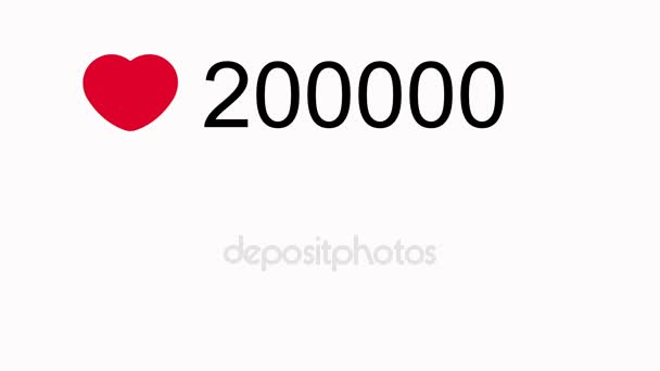 Simply and beautiful close-up of social network favourite button quickly Increasing to 1.000.000