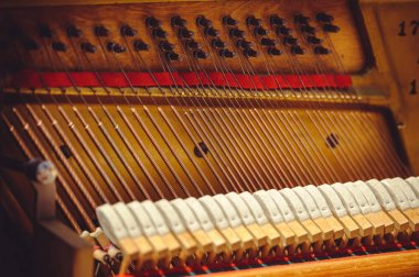 Strings of old pianoforte and hammer