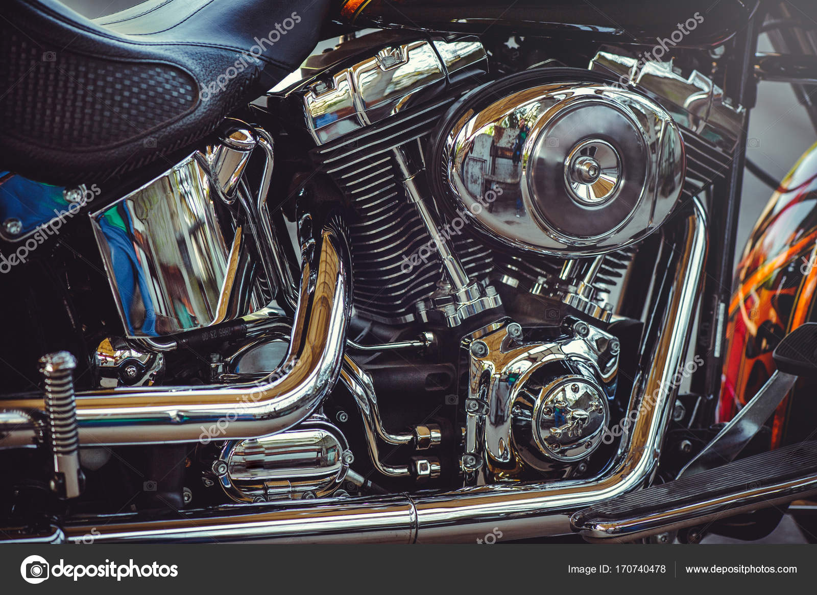 Beautiful chrome motor classic motorcycle, beautiful artistic processing  for the calendar flyer and advertising– stock image