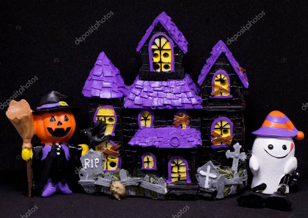 Fantasma Halloween Juguete Con Foto Casa Negro Fondo De La — Del AjL4c5RS3q