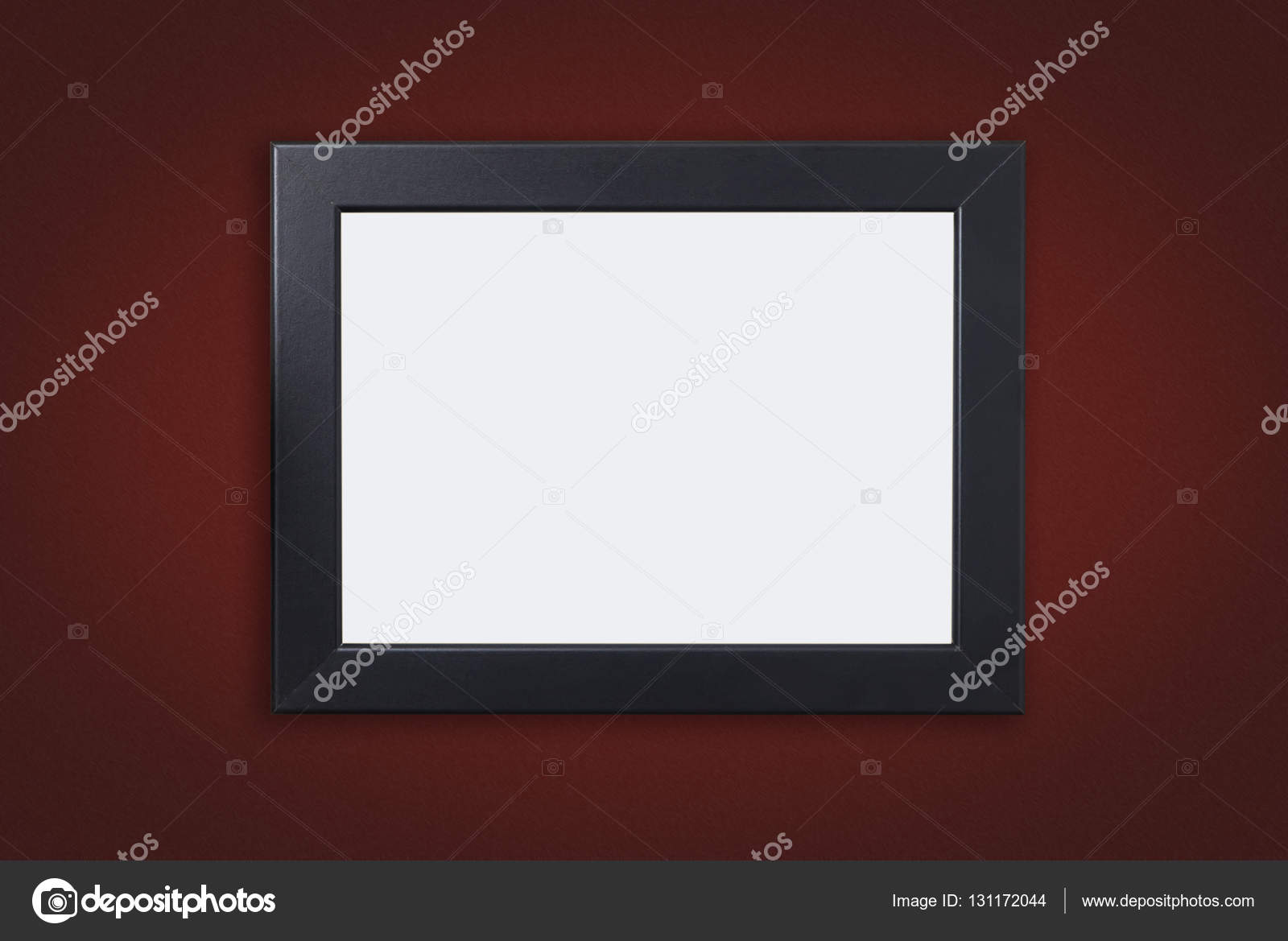 Leere Bilderrahmen mit schwarzem Rand auf rotem Grund — Stockfoto ...