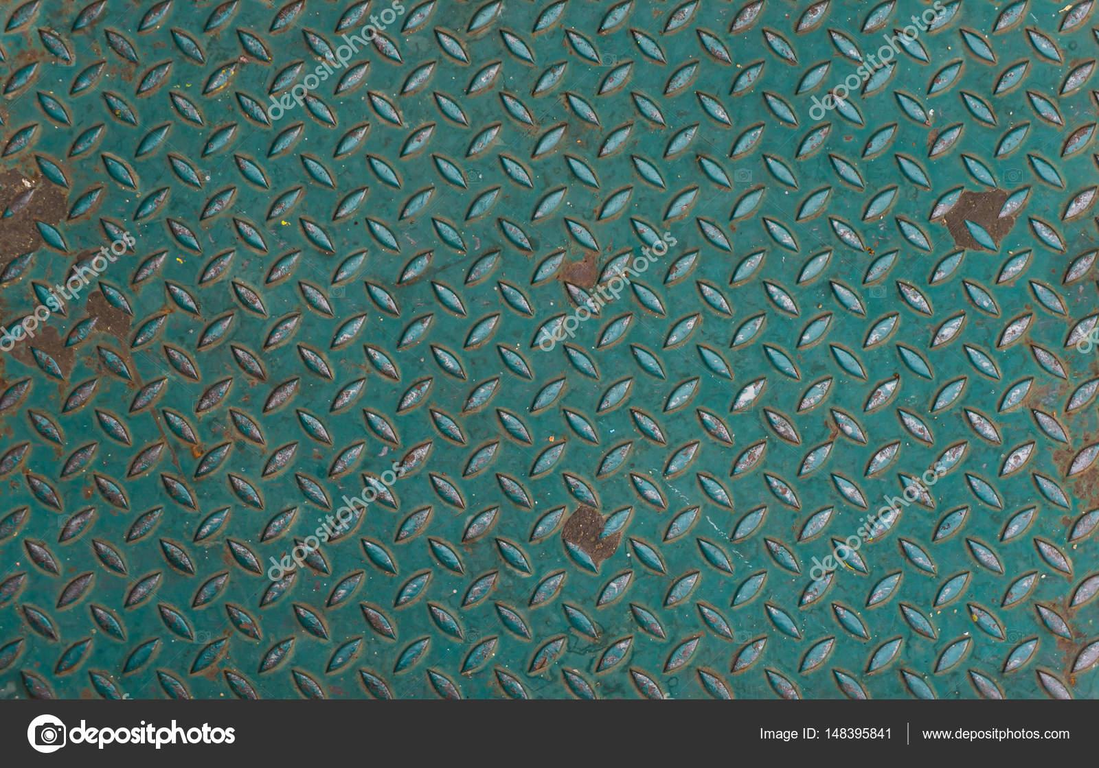 Green Metal anti slip metal floor pattern and texture. — Stock Photo ...