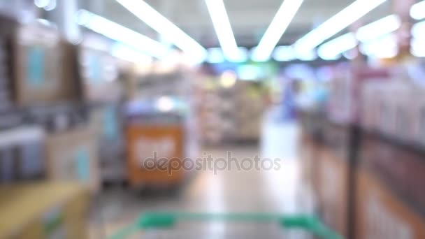 Shopping Cart moving Fast motion Blur in Supermarket