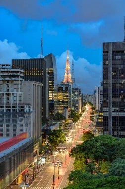 Paulista avenue, financial center of Sao Paulo at night