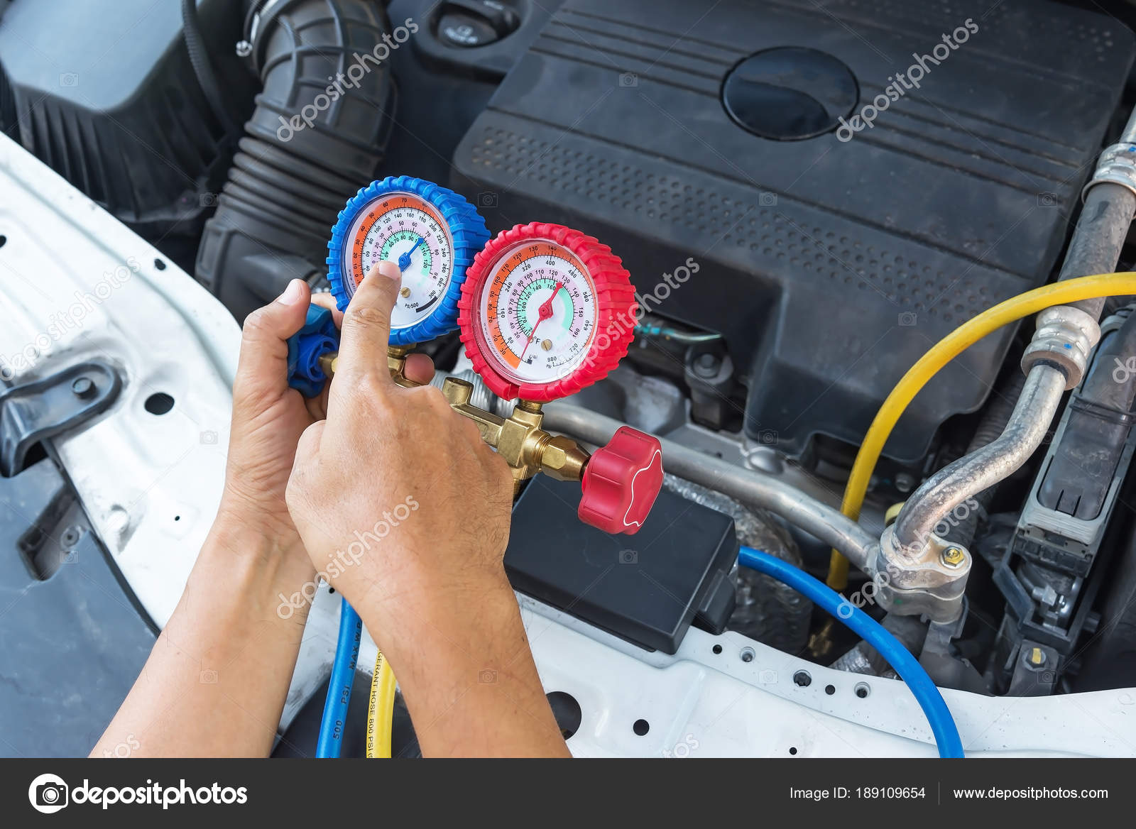Auto Mechanic Using Digital Multimeter Check Fuse Car Check Voltage