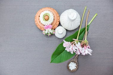 Thai Spa Treatments and massage on wooden white. Healthy Concept,relaxation,natural select and soft focus.top vie