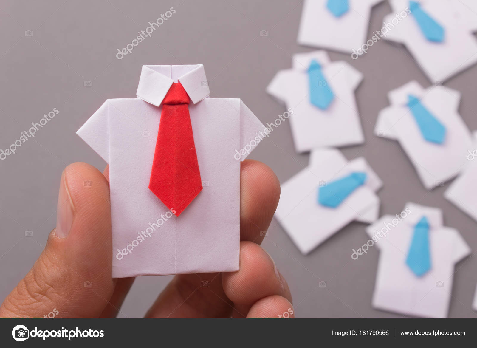 Office Workers Shirt Tie Made Paper Origami Copy Space Text