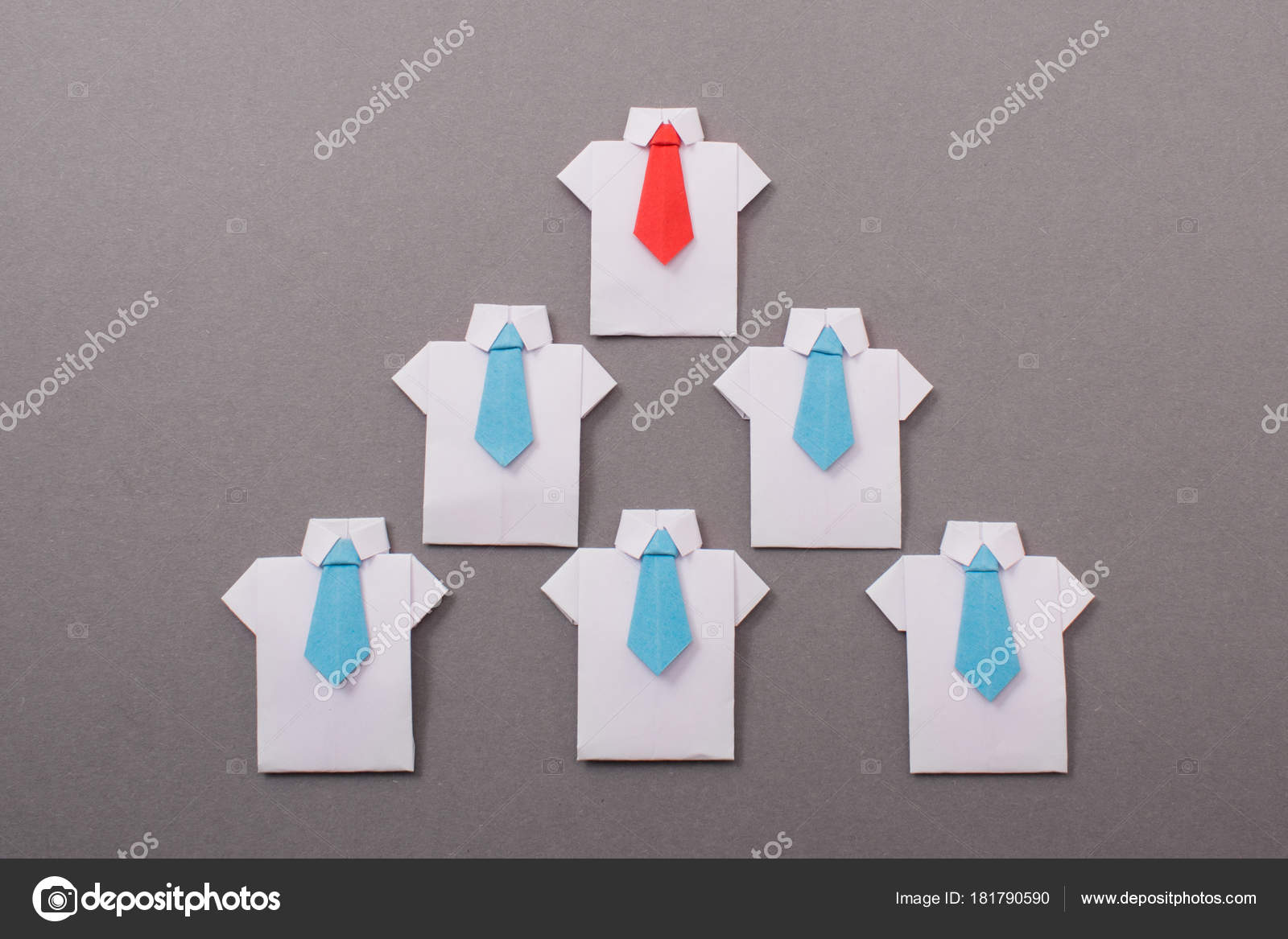 Office Workers Shirt Tie Made Paper Origami Copy Space Text Stock