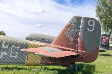 KRAKOW, POLAND - August 16, 2019: Old bomber aircraft on exhibition in outdoor museum of aviation history in Krakow, Poland.