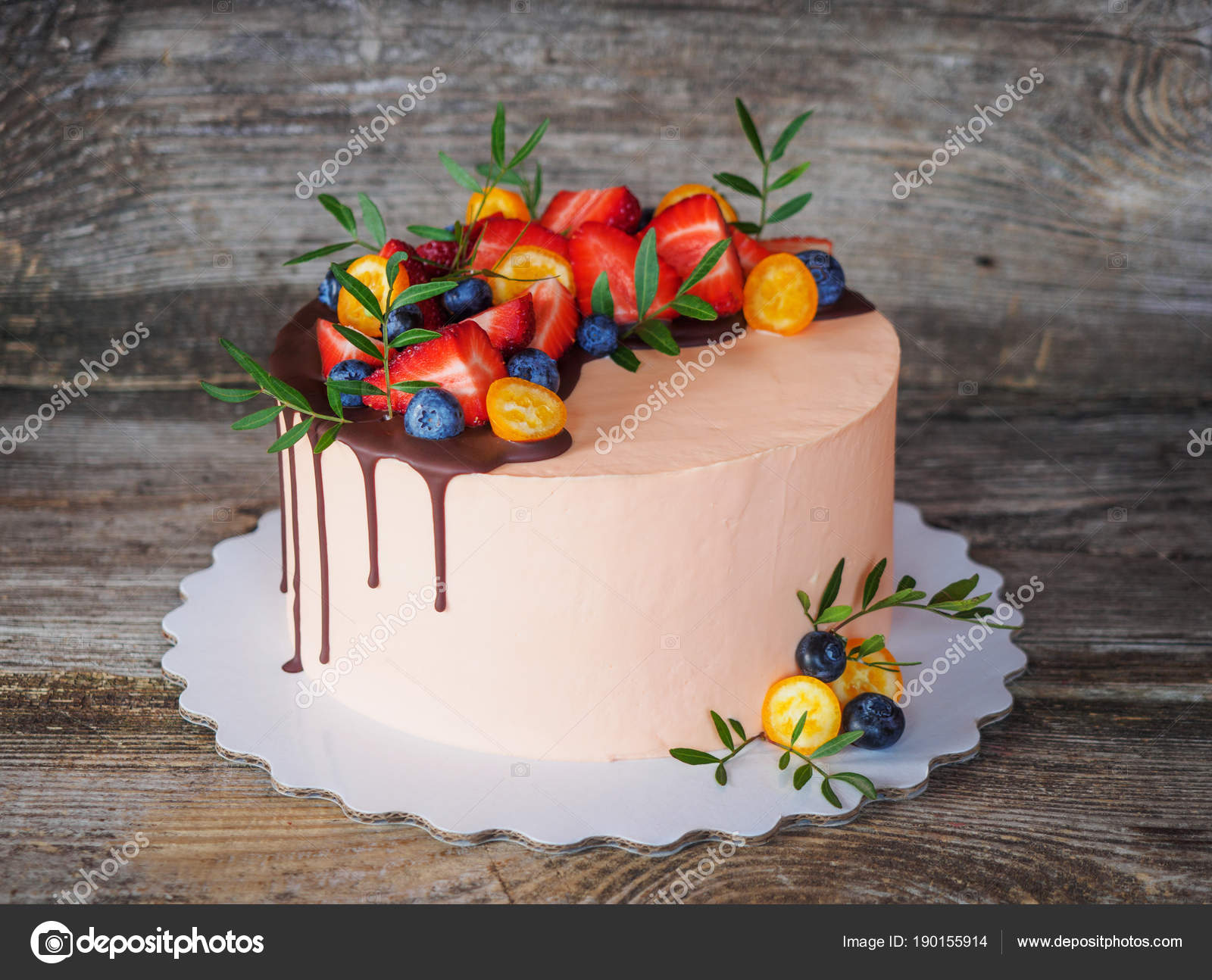 Beautiful Homemade Cake With Multicolored Curd Cream Decorated Strawberries And Blueberries Photo By