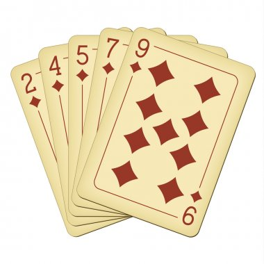 Flush of diamonds - vintage playing cards vector illustration