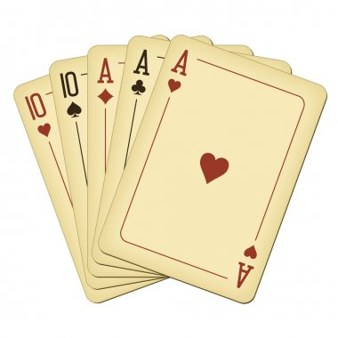 Full house - vintage playing cards vector illustration