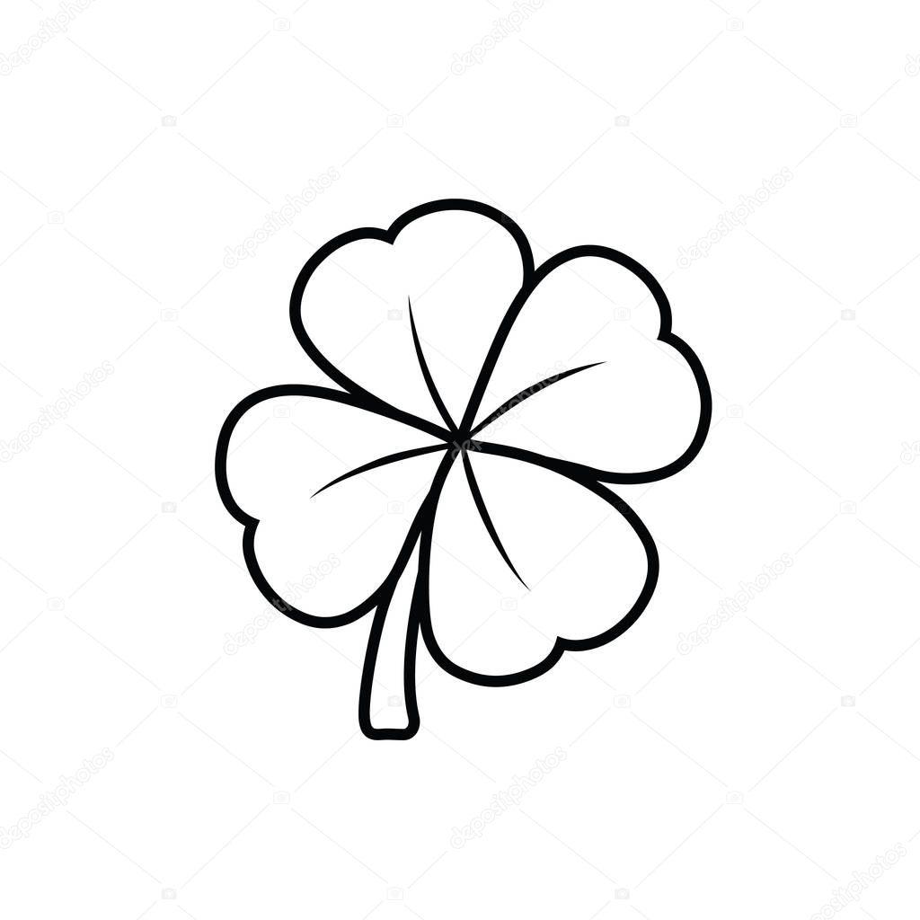 klavertje vier zwart wit vectorillustratie stockvector