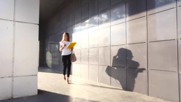 Obchodních žena žena pracuje poblíž obchodního centra mluví po telefonu s dokumenty