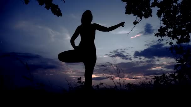 Silhouette Against Moon Light Sunset of One Young Graceful Girl Practicing Yoga Outdoors.