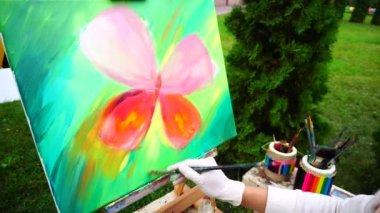 Színes pillangó művész lány Park szabadban készült olajfestmény