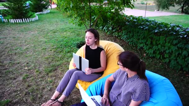 Vigorous Womens Freelancers Come up With New General Project Using Computer in Their Work and Sitting in Outdoor Chairs in Afternoon in Park.