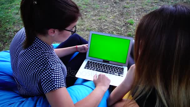 Girls Experts in Information Field Viewing Advertisement or Presentation on Green Screen Sitting in Soft Chairs in Open Air in Park on Warm Day.