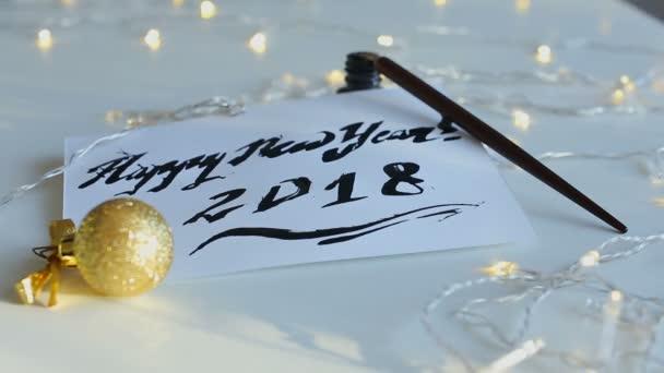 Vlastnoruční pozdrav šťastný nový rok 2018.
