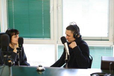 Radio broadcast on radio studio with leading and communicating w