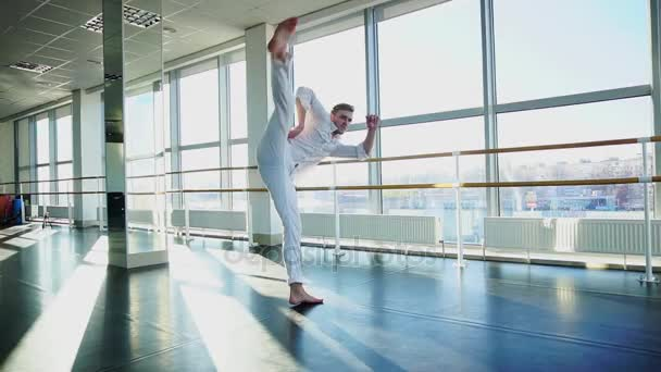 Man doing vigorous movements and swipe